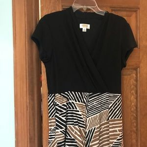 Talbots Size 14 Black/Leopard print Dress